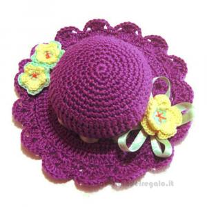 Cappellino puntaspilli viola ad uncinetto ø 11.5 cm Handmade - Italy