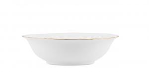 Insalatiera in porcellana bianco con filo oro stile 700 cm.7,2h diam.26