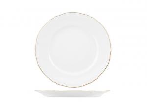 Piatto frutta in porcellana bianca con filo oro stile 700 cm.2,5h diam.21