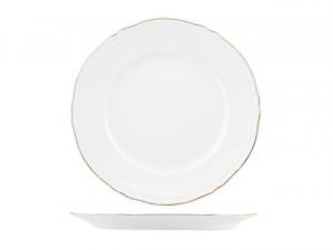 Piatto tavola piano in porcellana bianca con filo oro stile 700 cm.2,5h diam.27