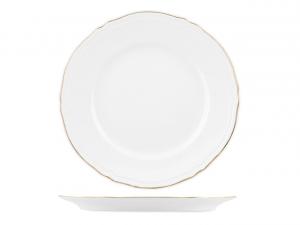 Sottopiatto in porcellana bianca con filo oro stile 700 cm.3h diam.32