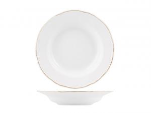 Piatto tavola fondo in porcellana bianca con filo oro stile 700 cm.4h diam.23,5