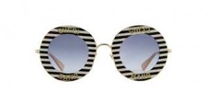 Gucci - Occhiale da Sole Donna, Black White/Blue Shaded  GG0113S  008  C44