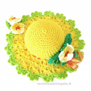 Cappellino puntaspilli giallo ad uncinetto ø 11 cm Handmade - Italy