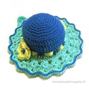 Cappellino puntaspilli blu ed acquamarina ad uncinetto 11.5 cm Handmade - Italy