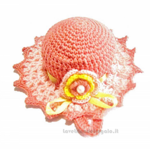 Cappellino puntaspilli salmone ad uncinetto 11.5 cm Handmade - Italy