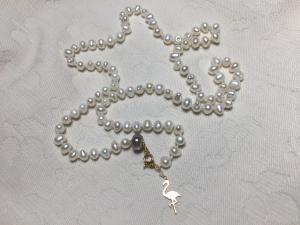 Collana Fenicottero di Perle Irregolari Bianche 48cm