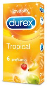 DUREX TROPICAL 6 Profilattici Condom Preservativi colorati aromatizzati arancia banana fragola sexy