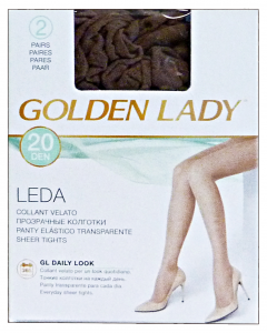GOLDEN LADY Leda Collant 20 den marrone castoro taglia IV * 2 paia 22a
