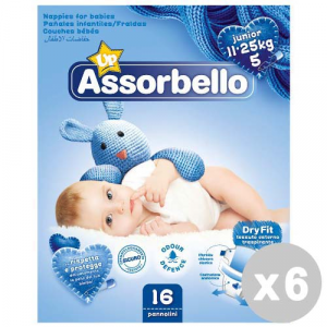 ASSORBELLO Set 6 ASSORBELLO Dry fit 5 junior 11-25 kg.*16 pz. pannolini