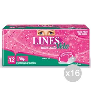 Set 16 LINES Intervallo Velo Slip X42 7928 Disteso Assorbente Igiene Intima Femminile