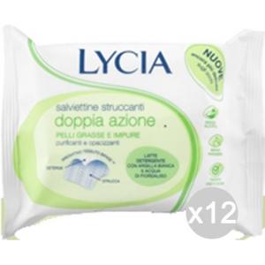 Set 12 LYCIA Salviette Struccanti X20 Verdi Pelli Grasse Impure Make-Up E Cosmetica