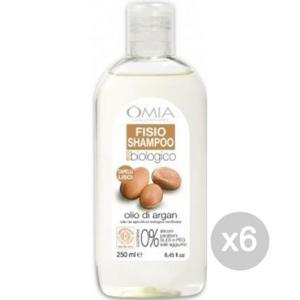Set 6 OMIA Ecobio Shampoo 250 Argan Capelli Lisci Cura E Trattamento Dei Capelli
