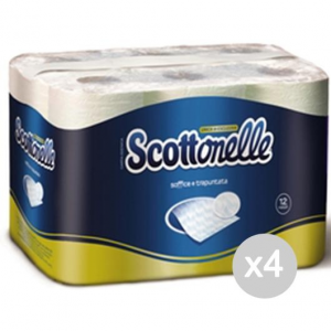 Set 4 SCOTTONELLE Carta Igienica 12 Rotoli Fine Cellul. Sanitari Bagni