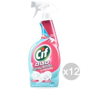 Set 12 CIF Duo Spray Attivo Candeggina 650 Detersivi E Pulizia Della Casa