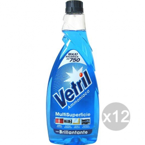 Set 12 VETRIL Multi Uso Antistatico Ml 650 Spray Complet Detersivi E Pulizia Della Casa