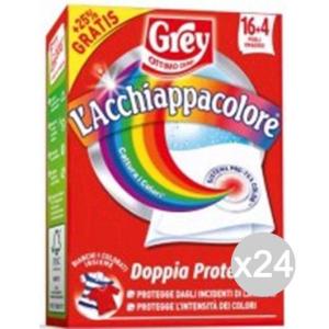 Set 24 GREY L'Acchiappacolore 16+4=20 Fogli Detersivo Lavatrice E Bucato