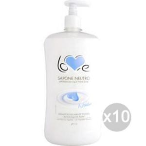 Set 10 LOVE SOAP Sapone Liquido L.1 Neutro Cremoso Disp Cura E Pulizia Del Corpo