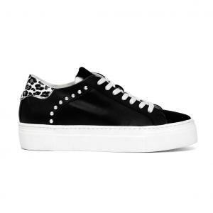 Sneaker nera con tallone animalier CAFèNOIR