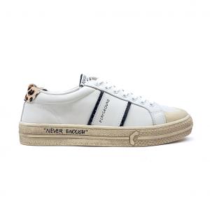 Sneaker bianca con tallone leopardato Playground