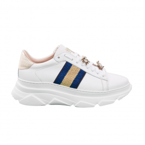 Chunky sneaker bianca con banda blu Stokton