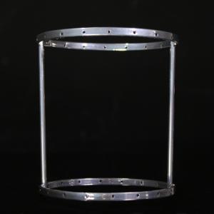 Montatura verniciata cromo per portacandela con cristalli,  rigetta da 6 mm passo 18 mm con 18 fori per catene. Ø 10 x h 12 cm