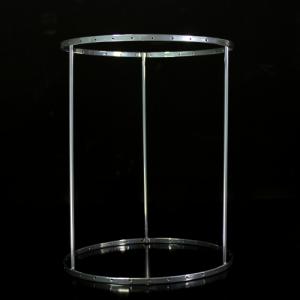 Montatura verniciata cromo per portacandela con cristalli,  rigetta da 6 mm passo 18 mm con 31 fori per catene. Ø 18 x h 23 cm