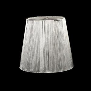 Paralume tronco cono Ø13 x Ø9 x h12 cm - fili di tessuto argento - attacco a molla - telaio bianco