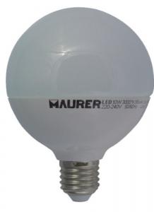 MAURER Lampada Globo 10W Led 850 Luce E27 3000K Risparmio Energetico
