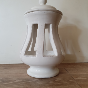 Lanterna ceramica Toscana Montelupo con coperchio bianca