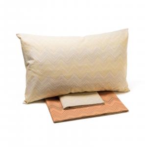 Completo CALEFFI lenzuola matrimoniale Zig Zag Chevron corallo