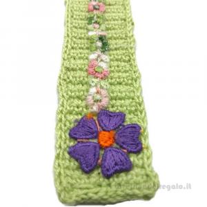 Matitone segnalibro verde ad uncinetto 3x15,5 cm Handmade - Italy