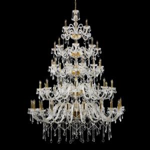 Lampadario 63 luci in 6 piani, stile Maria Theresa, in vetro e cristalli molati, struttura oro.