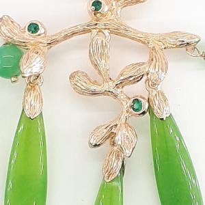 Orecchini Pendenti in Argento 925 con Giada e Quarzo Verde - Giampiero Fiorini