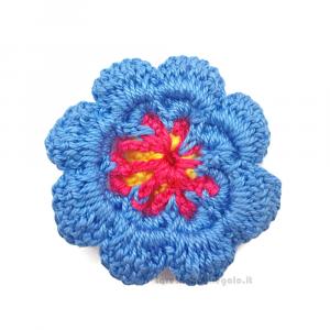 Set 5 pz - Fiore blu, fucsia e giallo ad uncinetto ø 5 cm Handmade - Italy