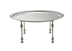 Vassoio ovale placcato argento con piedi cm.42x32x17h