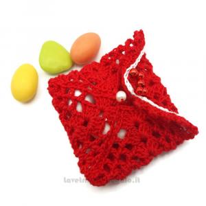 Portaconfetti bustina rossa ad uncinetto 7X6 cm - Sacchetti bomboniere