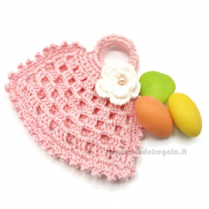 Portaconfetti borsetta rosa ad uncinetto 9.5x6 cm - Sacchetti bomboniere