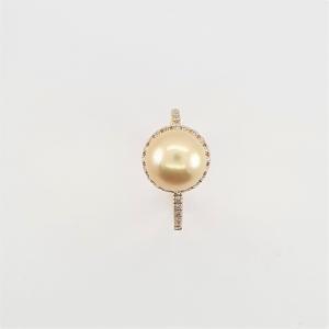 Anello in Oro Giallo Con Perla Rose Gold e Brillanti - Bibigì