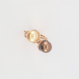 Anello in Oro Rosa con Perla Chocolate e Brillanti - Bibigì
