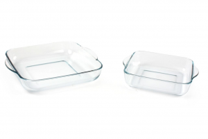 Set 2 pirofile in vetro quadrate cm 22 e 28