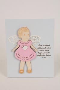 Quadretto Regalo Battesimo Baby 15x12 cm Legno Laccato