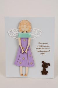 Quadretto Angelo della Felicità 15x12 cm Legno Laccato