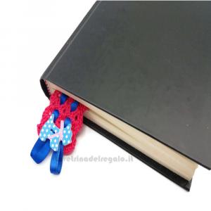 Segnalibro fucsia con nastrino blu ad uncinetto 3,5x16 cm Handmade - Italy