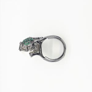 Anello Frog in Argento Brunito 925 con Perla e Swaroski Verdi - Giampiero Fiorini