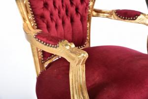 Poltrona barocco oro rosso velluto