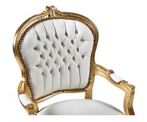 Poltrona barocco oro bianco ecopelle