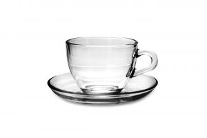 Set 6 Tazzine caffè in vetro con piattino in vetro
