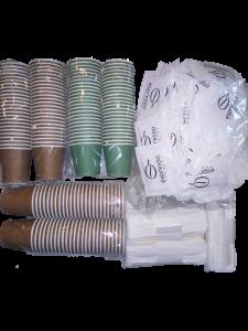 Kit accessori caffe' ecologico monouso 450 bicchierini zucchero palette legno bio