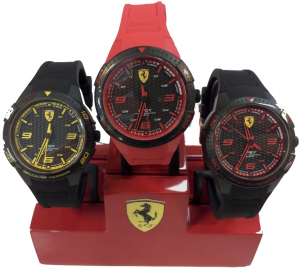 Ferrari Apex Quartz Watch With Silicon Strap Black Red